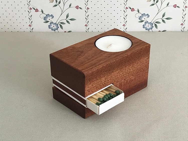Carved Wood Candle and Match Box