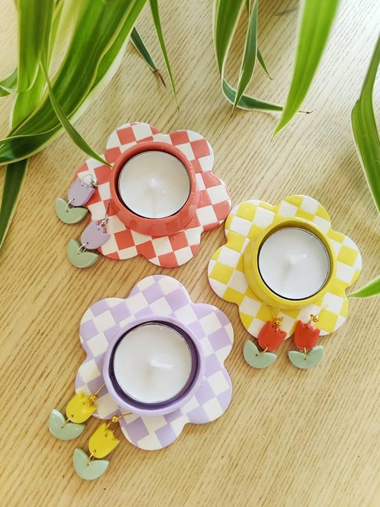 Ceramic Cute Candle Holder in Flower Shape