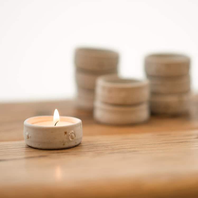 Ceramic Tea Light Holder Pottery Minimalism