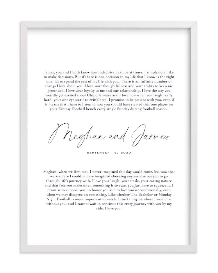 Wedding Vow Wall Art by Minted