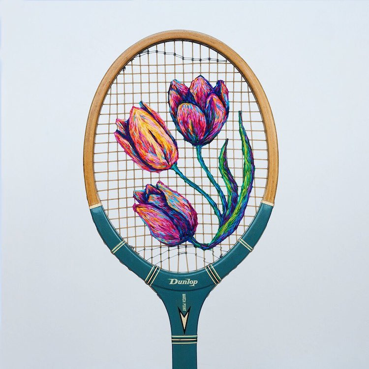 Embroidery Inside a Tennis Racket by Danielle Clough