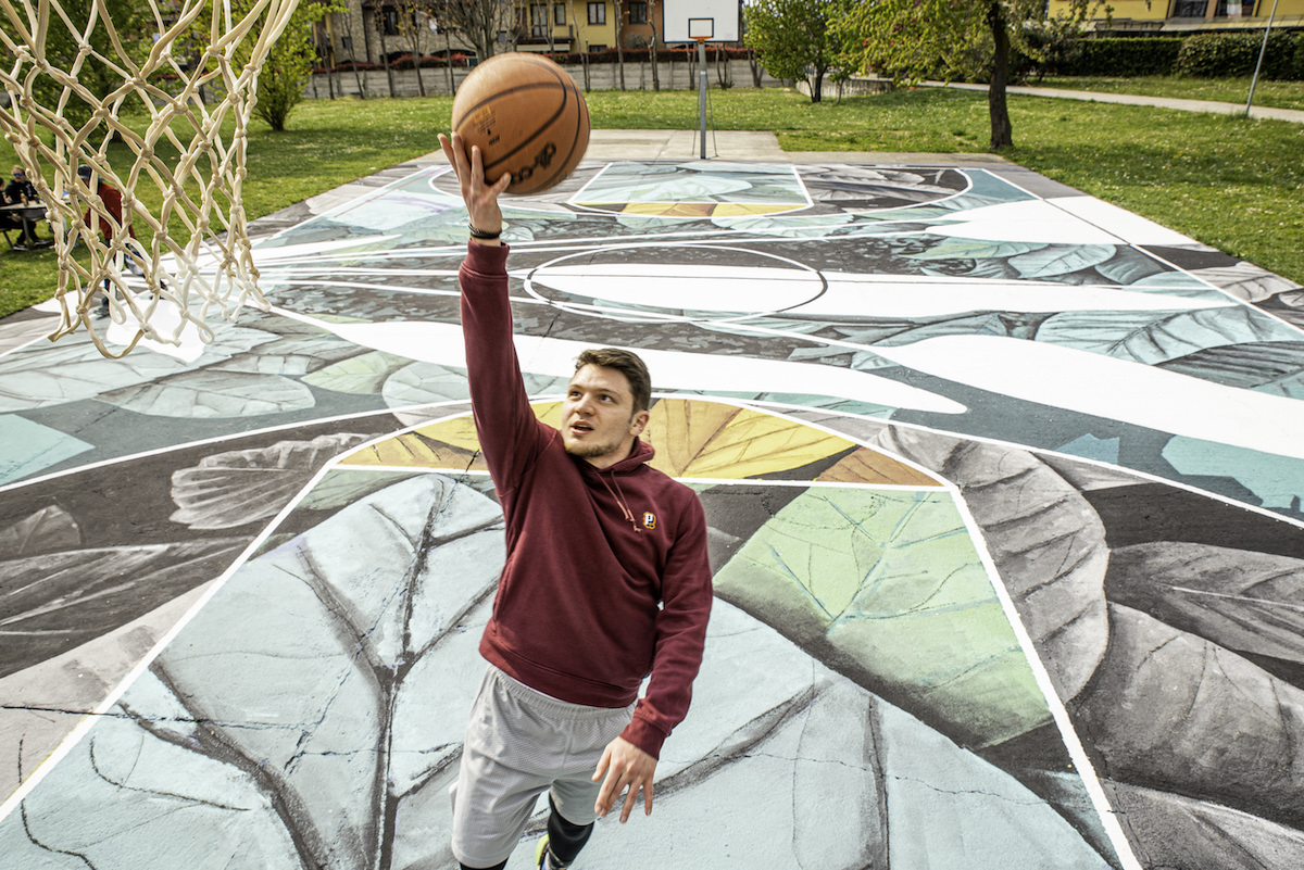 Painted Basketball Court in Italy by Fabio Petani