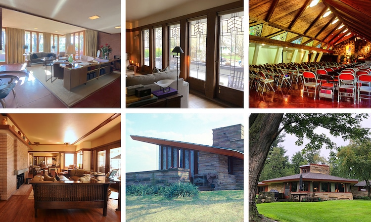 Six buildings in the Frank Lloyd Wright Building Conservancy's Way Out and About Wright 2021 Virtual Tour