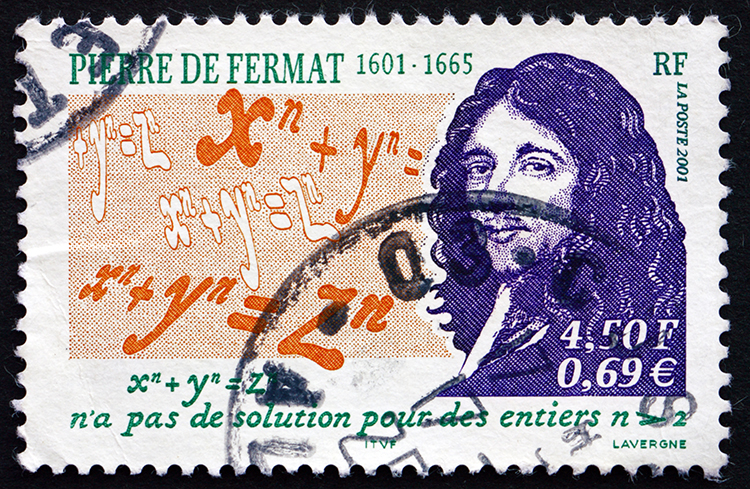 French Stamp Showing Pierre de Fermat and His Last Theorem