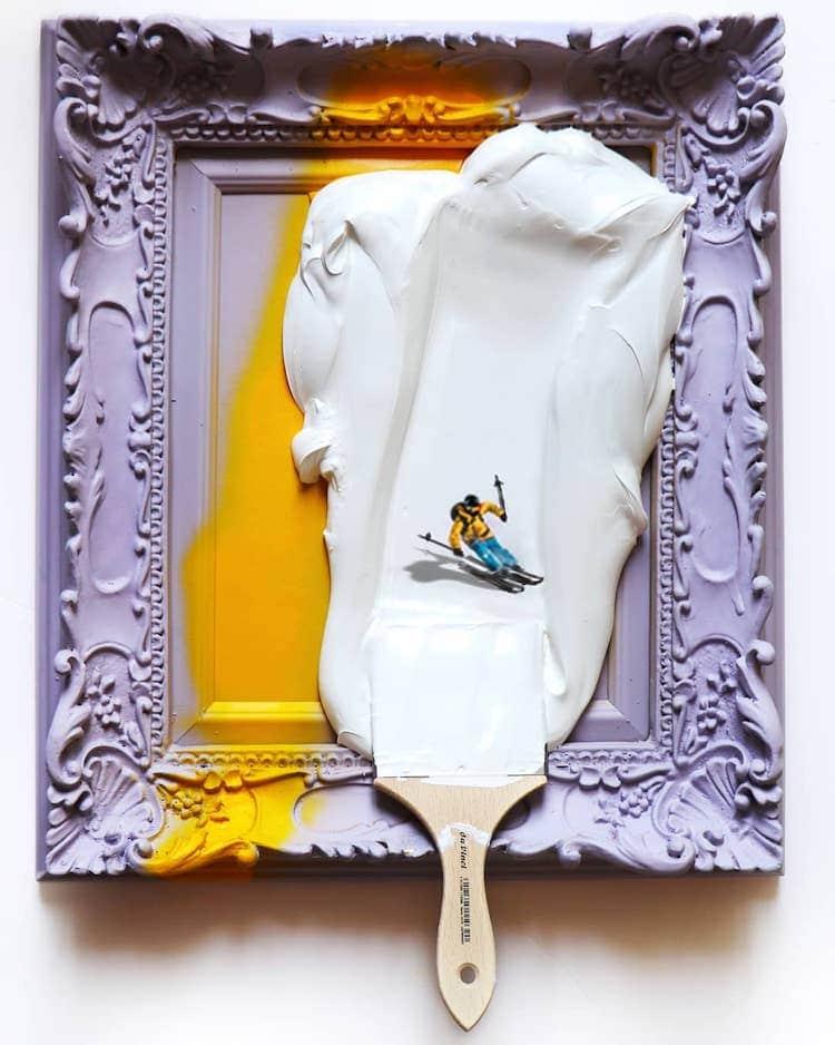 Personas diminutas en manchas de pintura por Golsa Golchini