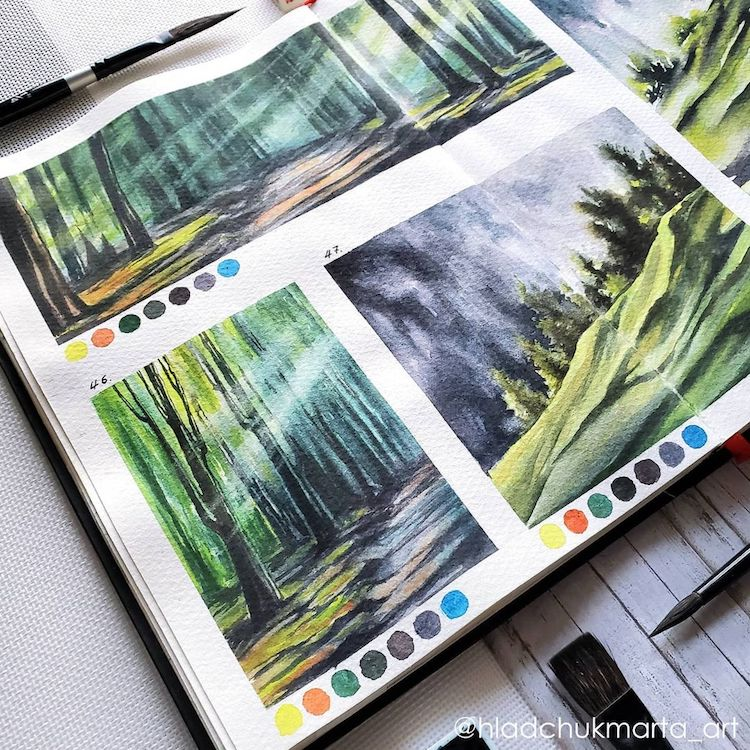 Watercolor Landscape Painting Studies by Marta Hladchuk