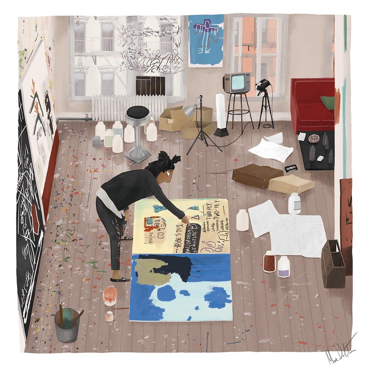 Painting of Basquiat in Studio
