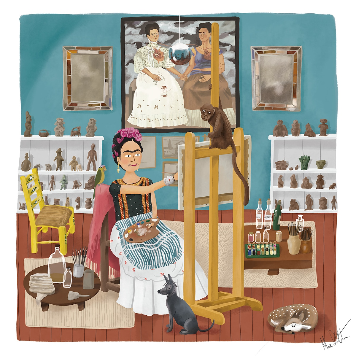 Painting of Frida Kahlo in Studio