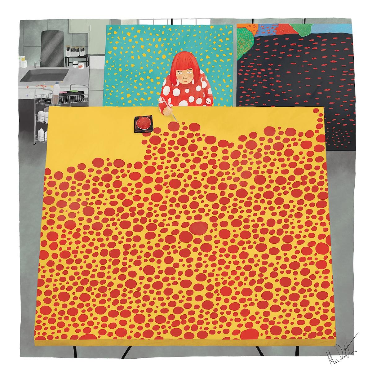 Painting of Yayoi Kusama in Studio