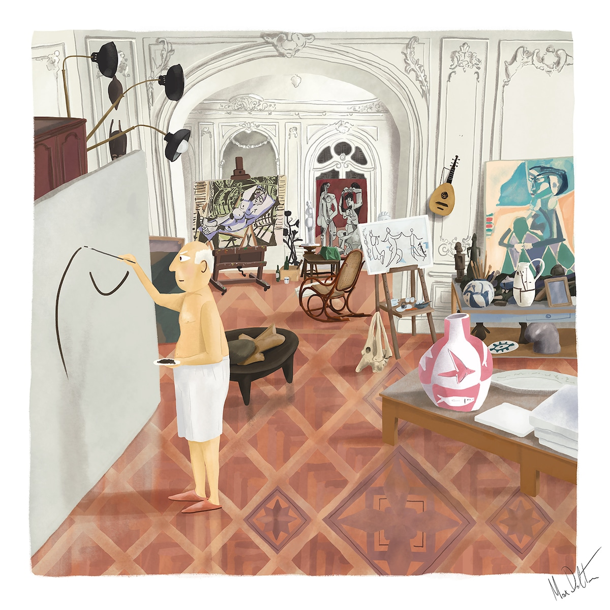 Painting of Picasso in His Studio