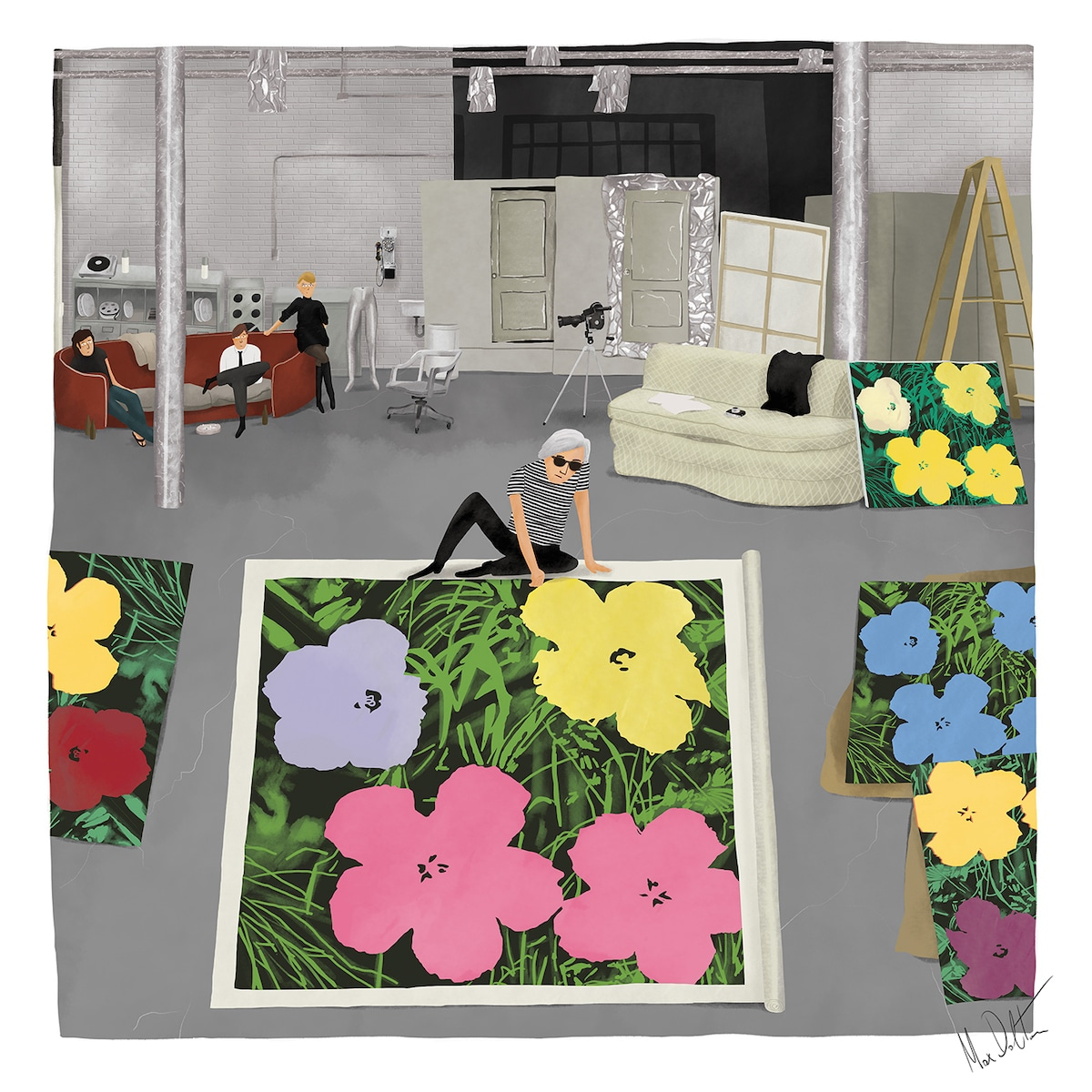 Painting of Andy Warhol in His Studio