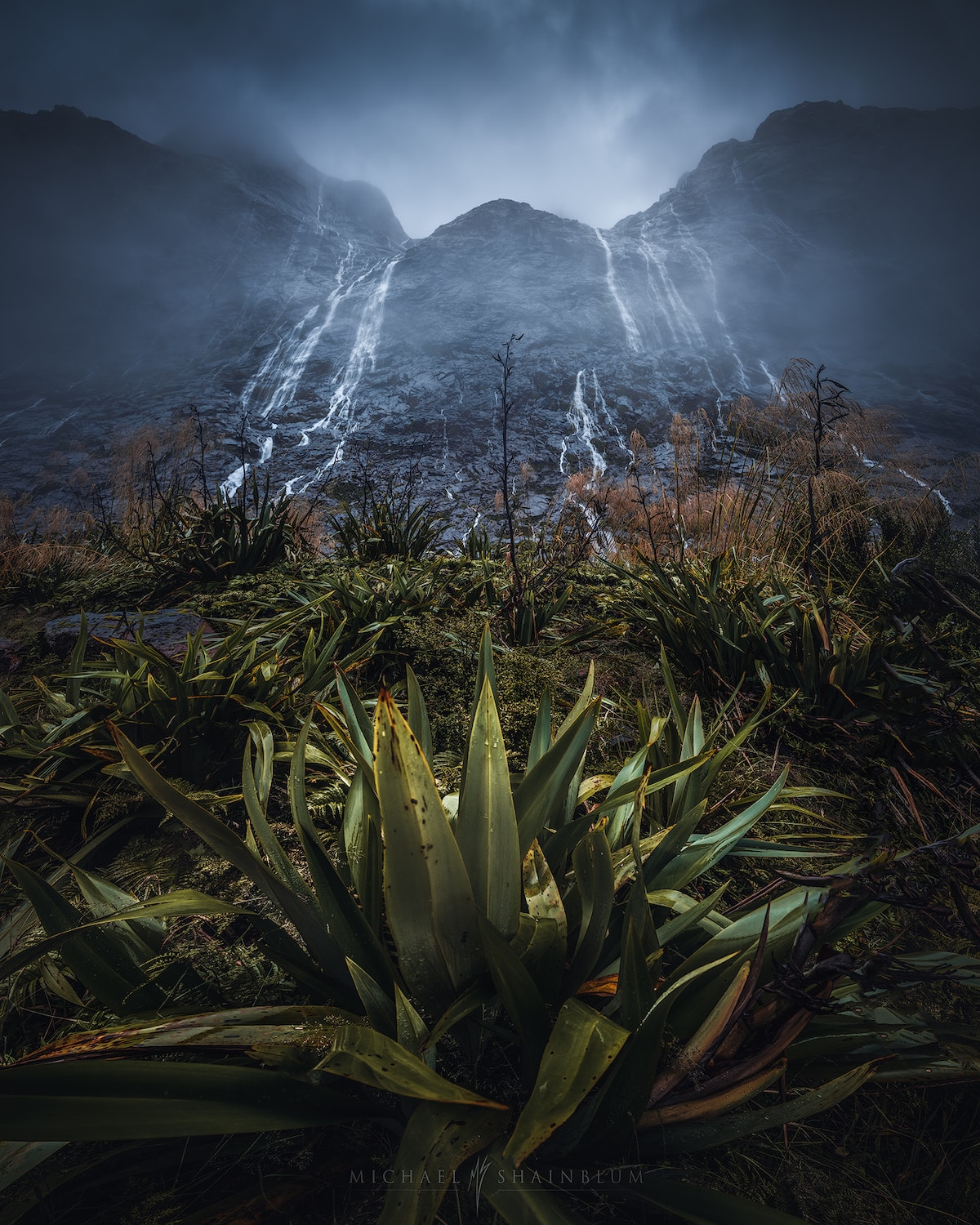 Milford Sound Waterfall in New Zealand by Michael Shainblum