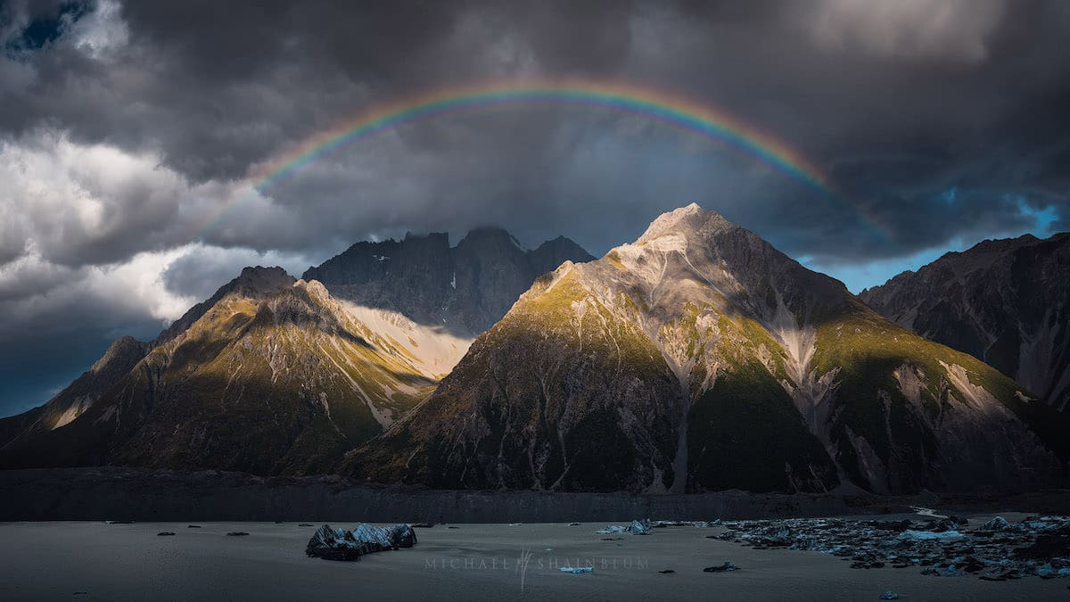 Rainbow in New Zealand by Michael Shainblum