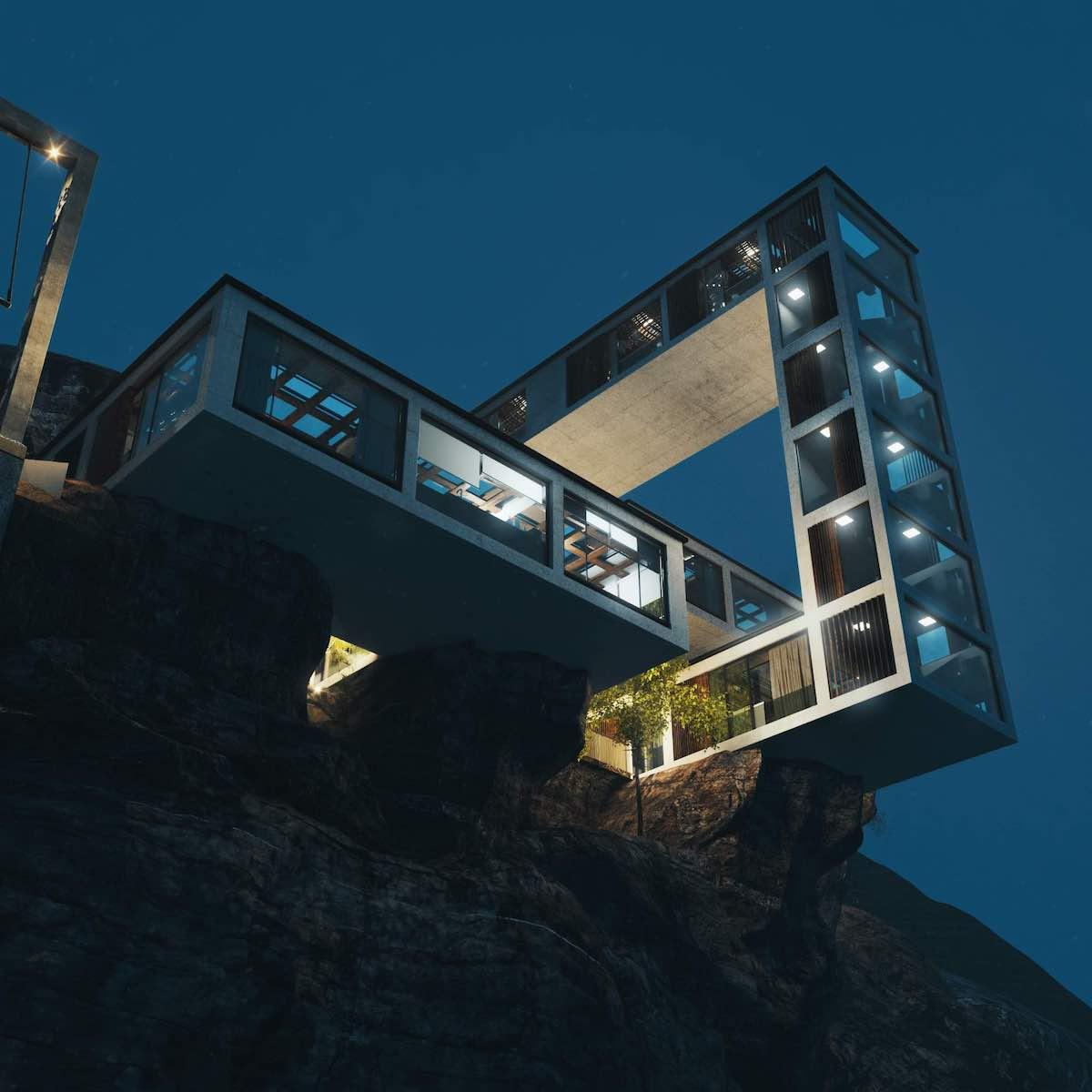 Night View of Milad Eshtiyaghi's Mountain House