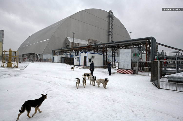The New Safe Confinement surrounding the old sarcophagus.
