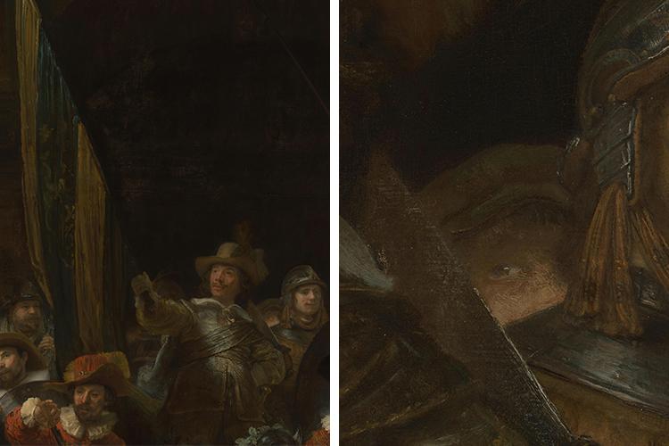 Detalle de la ronda de noche de Rembrandt