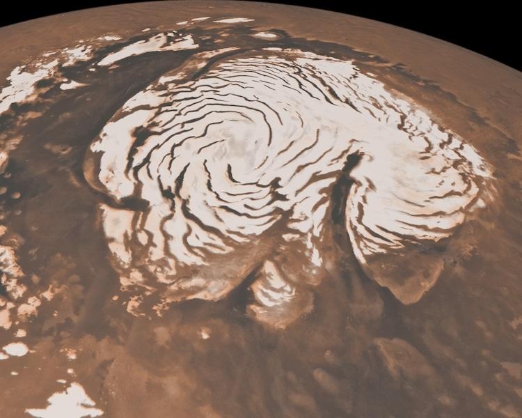 Northern ice caps on Mars