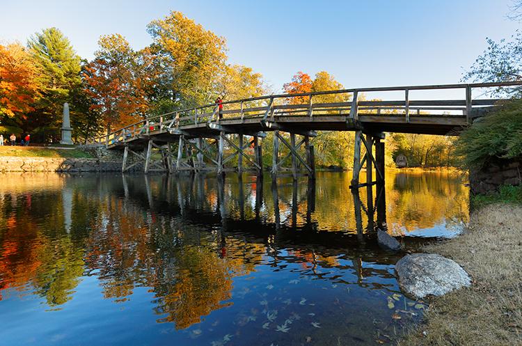 The Old North Bridge in Concord, Massachusetts.
