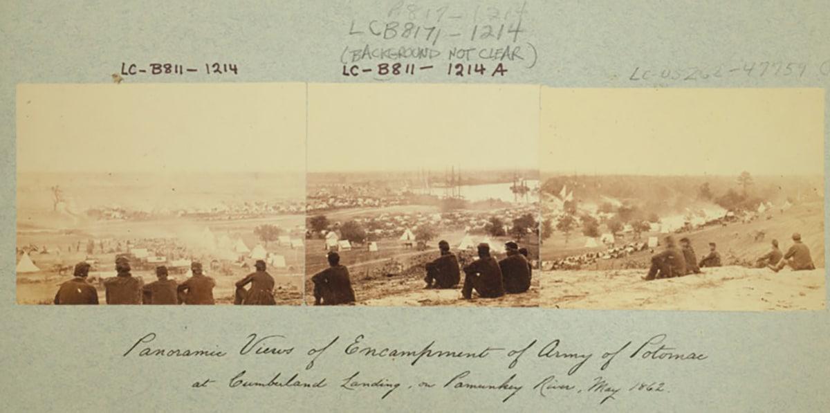 Panoramic views of encampment of Army of Potomac at Cumberland Landing, on Pamunky River, May 1862