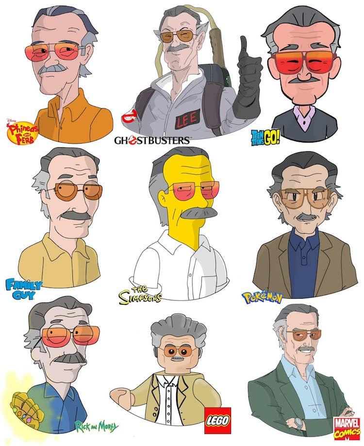 retratos de caricatura de stan lee