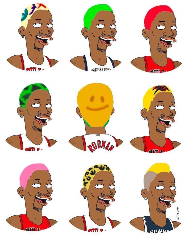 retrato de caricatura de deportistas