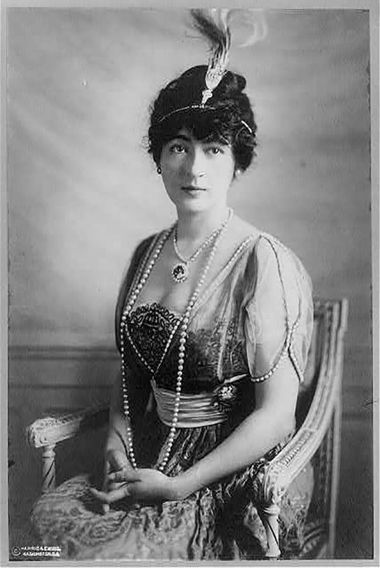 Evalyn Walsh McLean, 1886-1947 Wearing the Hope Diamond