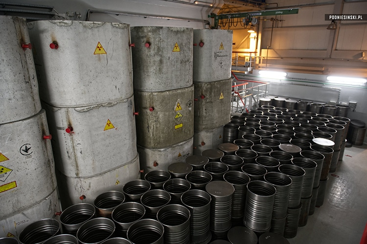 Storage for empty radioactive waste containers.