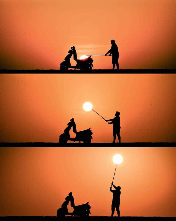 Fotos de siluetas al atardecer por Krutik Thakur