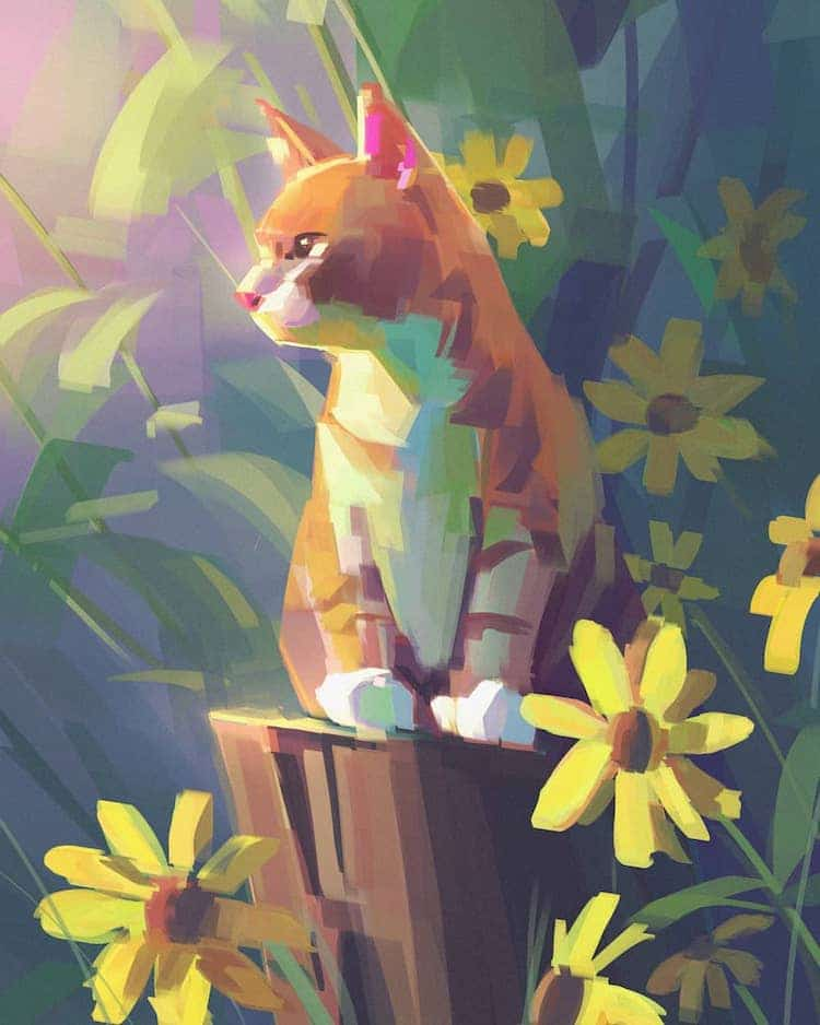 Digital Cat Illustrations by Wayne Tsay