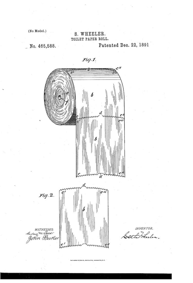 Diagrama de patente que muestra cómo se debería colocar el papel higiénico