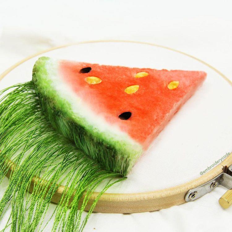 bordados de comida con aguja mágica por Youmeng Liu