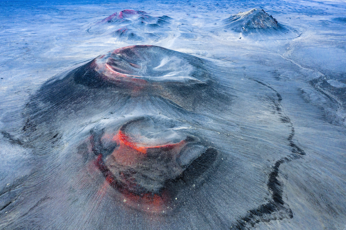 Aerial Photo of Volcanos in the Fjallabak Nature Reserve