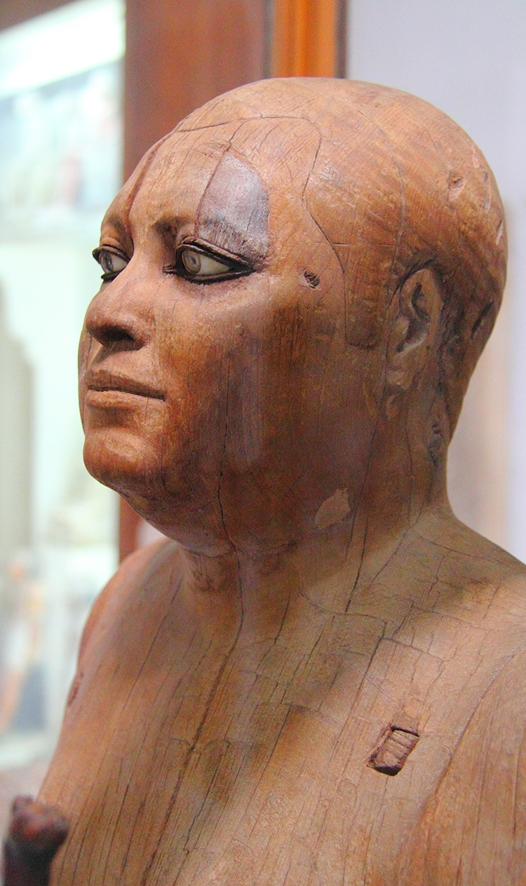 Ancient Egyptian Wood and Rock Crystal Statue of Scribe Ka'aper is Very Realistic