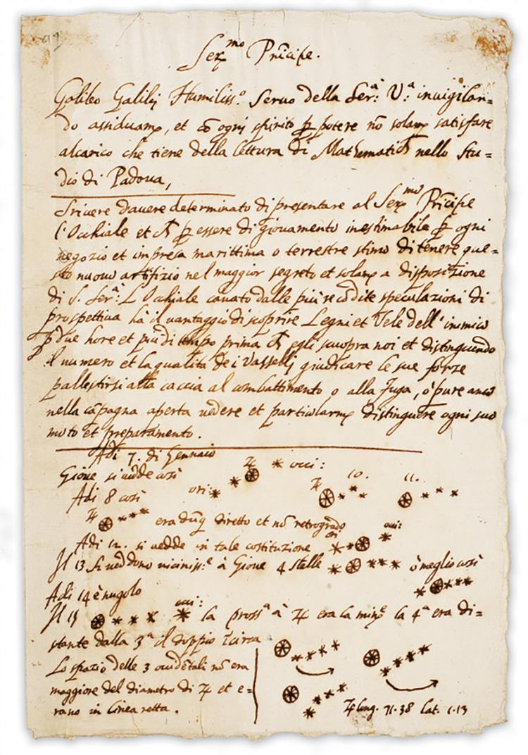 Lettre manuscrite de Galilée