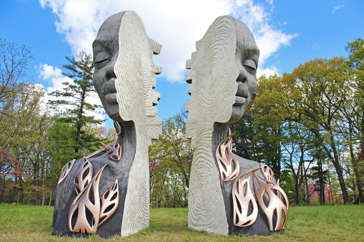 Outdoor Sculpture of Woman's Face Split in Half