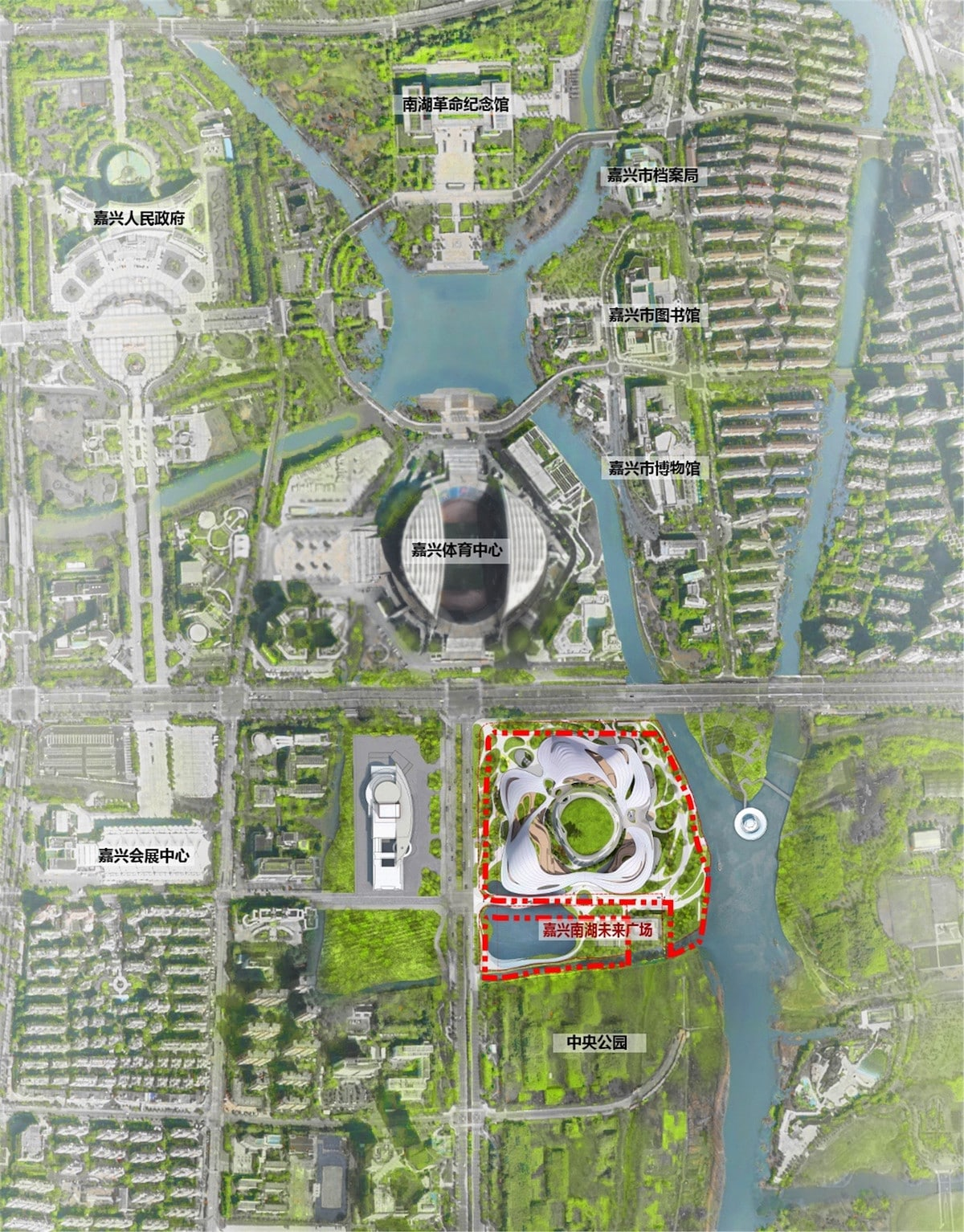 Plan View of MAD Architects' Jiaxing Civic Center