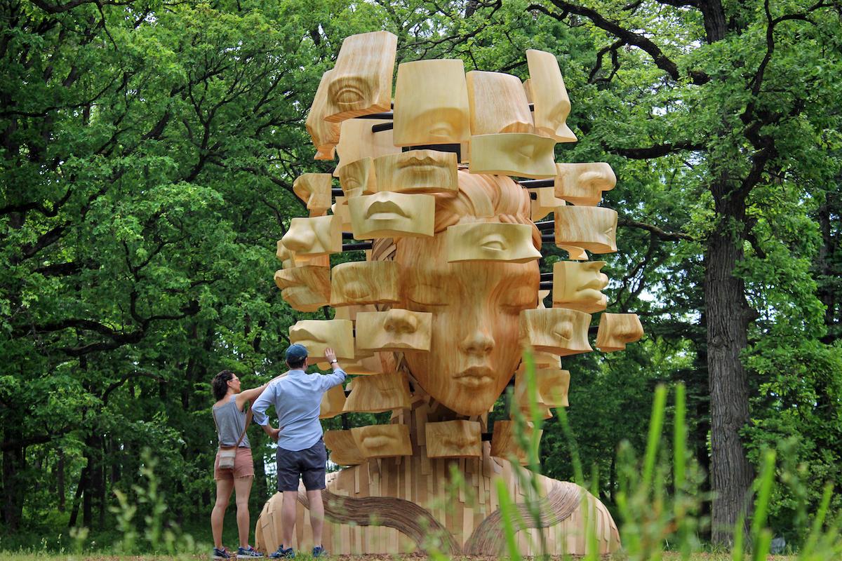 Pixelated Face Sculpture by Daniel Popper