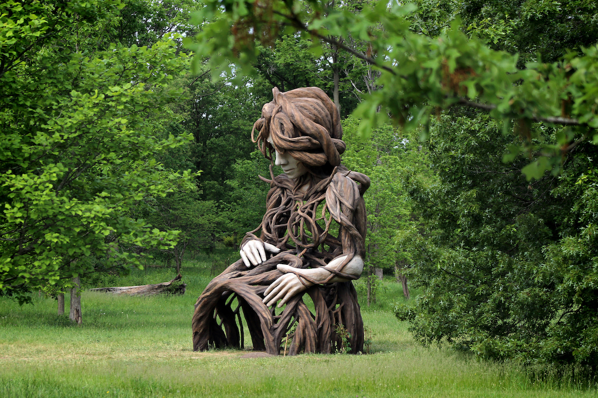 Large Sculpture of Pregnant Woman Made of Wood by Daniel Popper