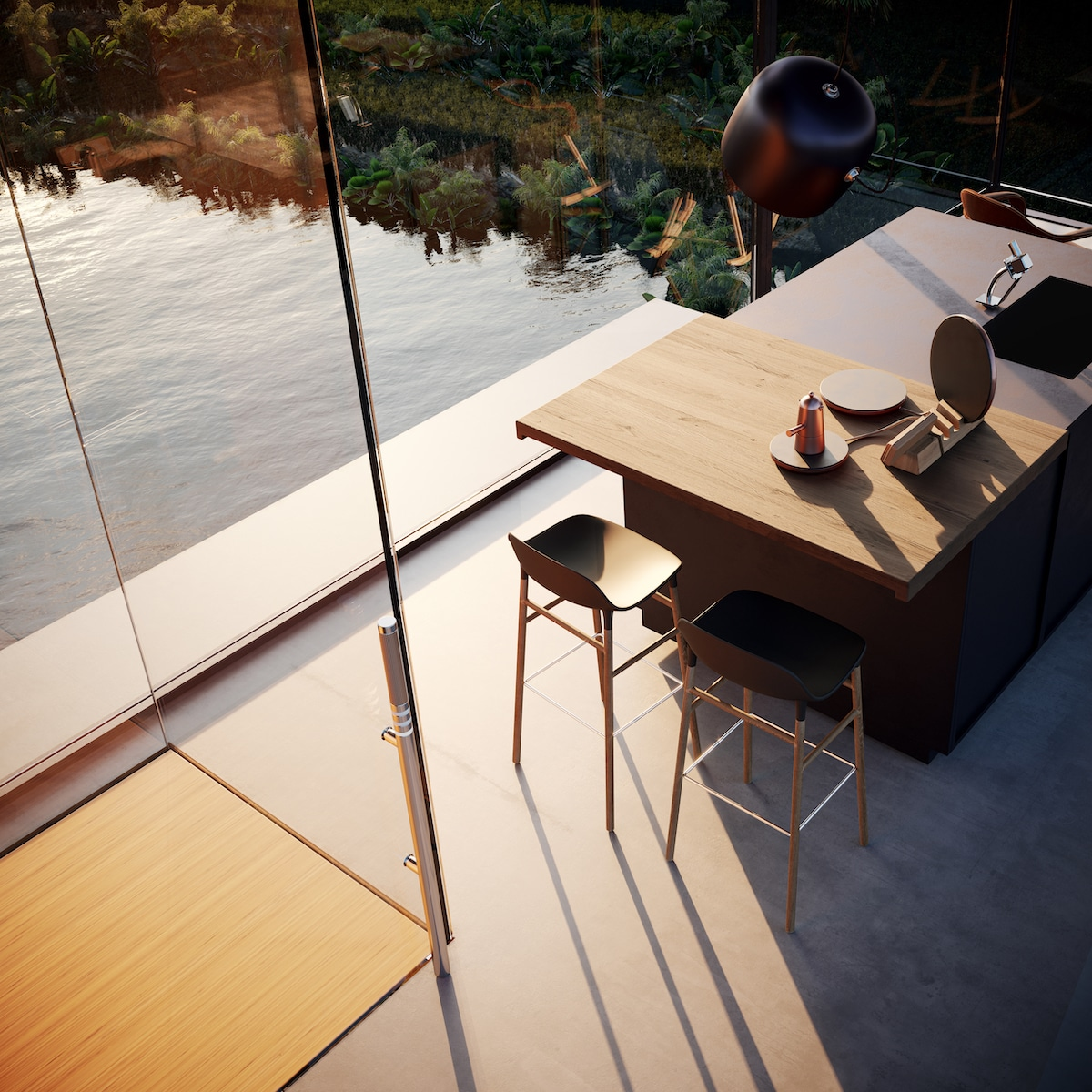 Interior View of Adriano Design's House on the Rice Paddy
