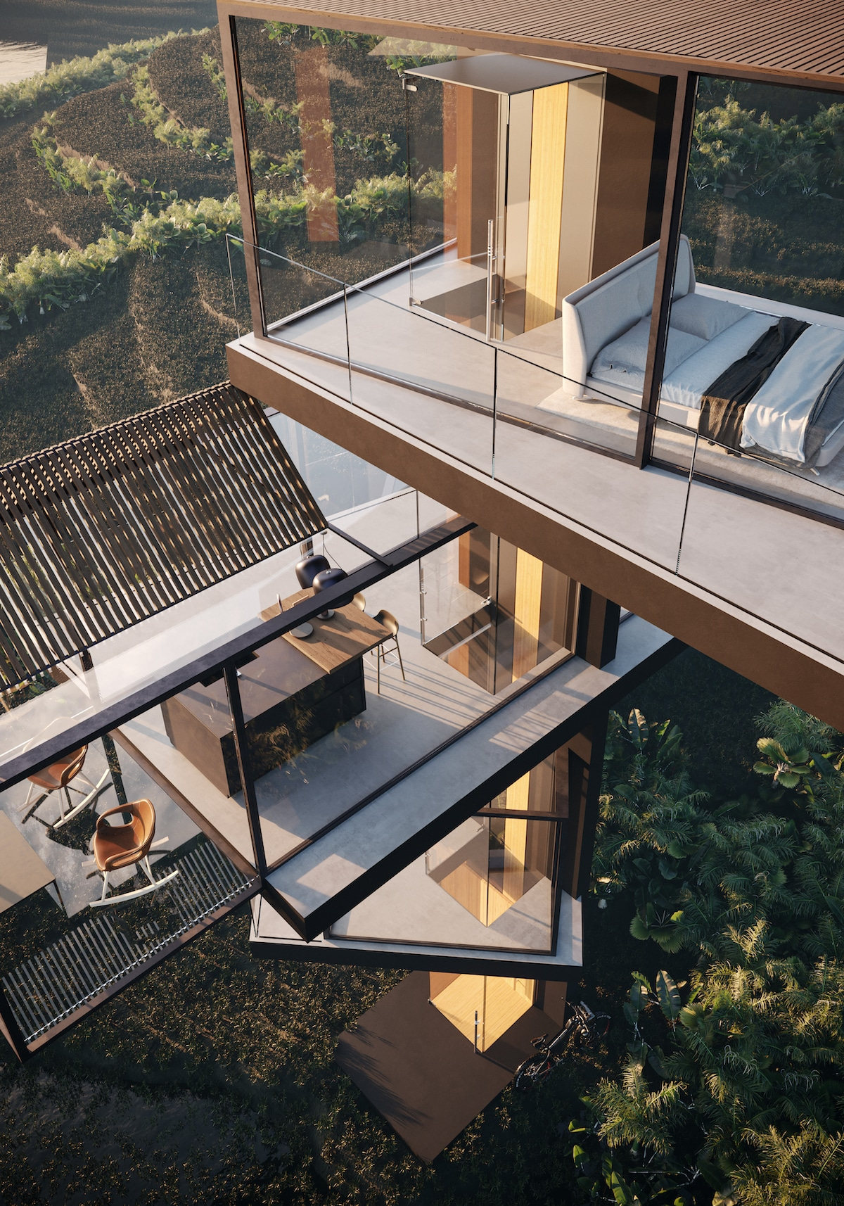 Exterior View of Adriano Design's House on the Rice Paddy