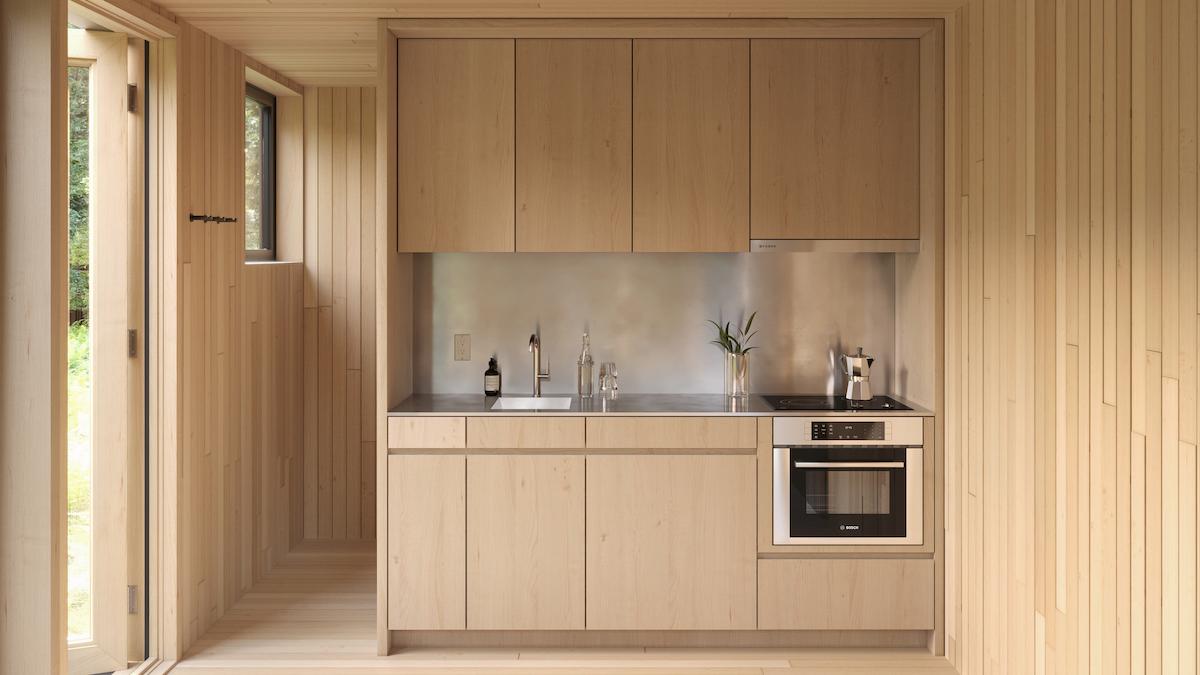 Kitchen Interior of Arcana Mirrored Cabin