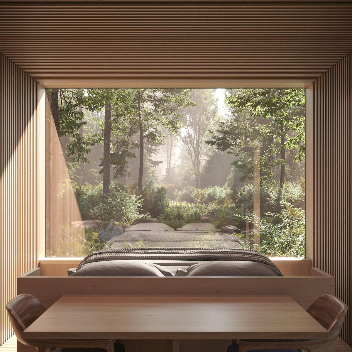 Bedroom Interior of Arcana Mirrored Cabin
