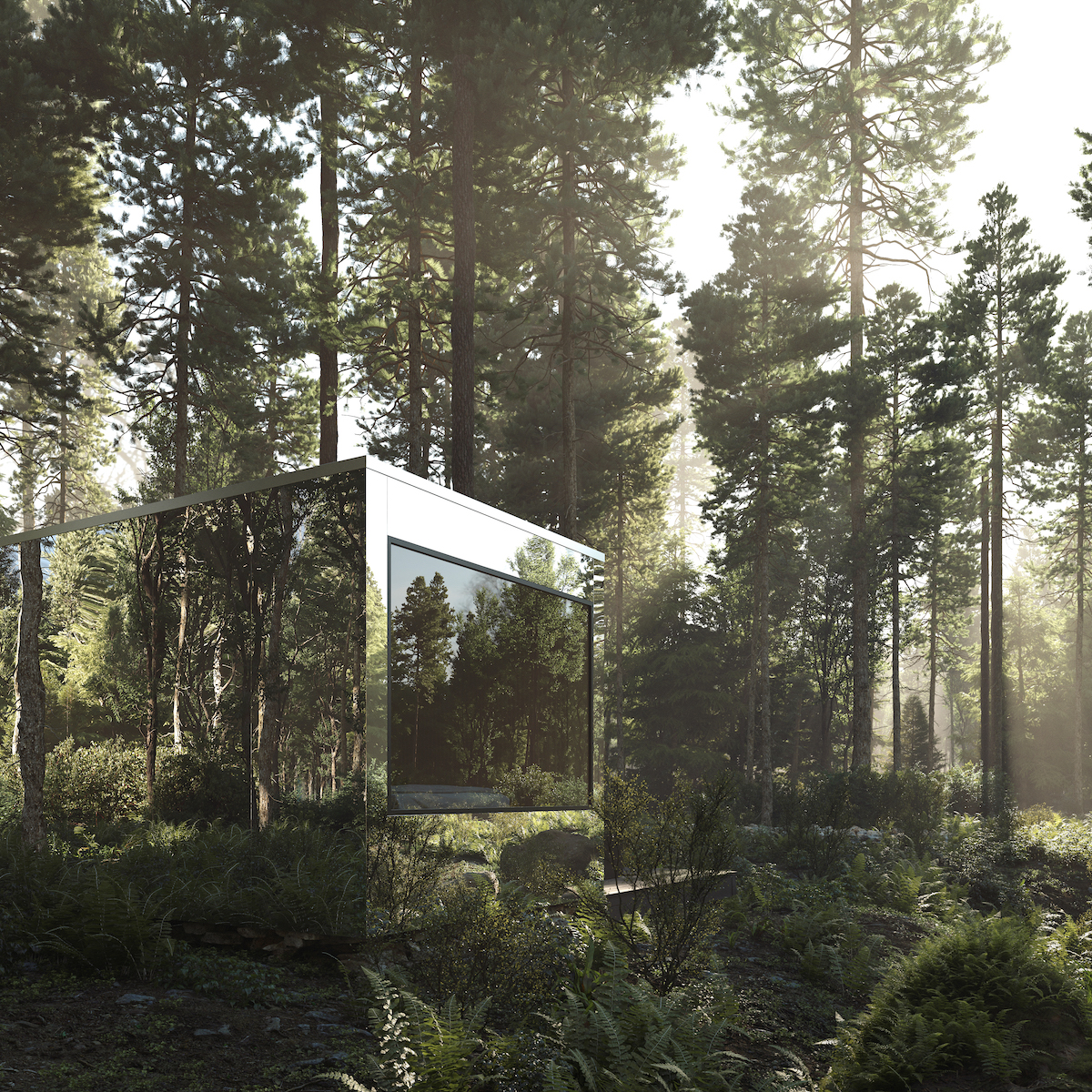 Exterior of Arcana Mirrored Cabin