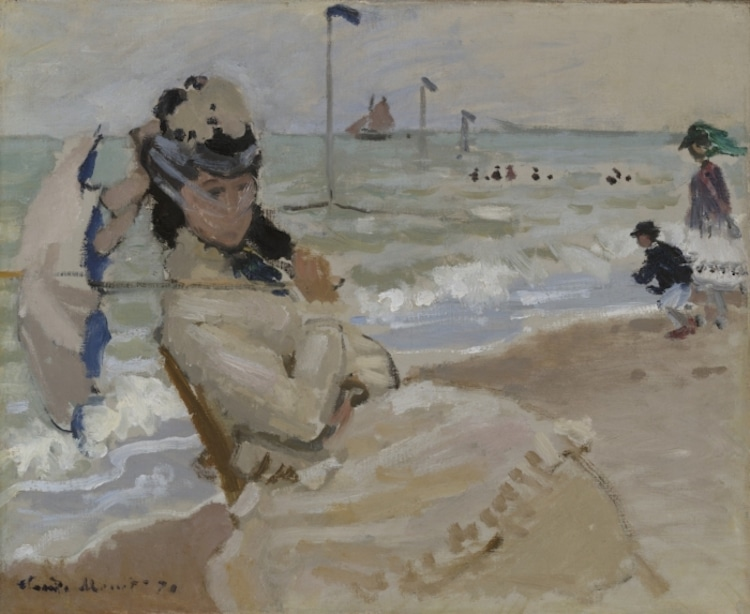 Camille on the Beach at Trouville by Claude Monet