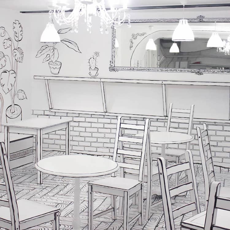 Café bande-dessinée à Moscou en Russie