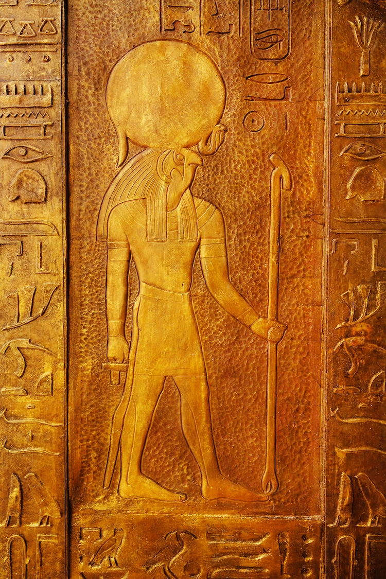 Hieroglyphic Carving of the Ancient Egyptian God Ra