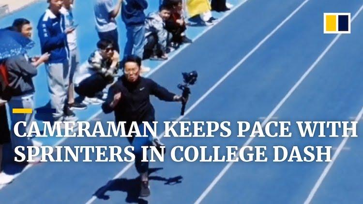 Fast Cameraman Sprints in Race