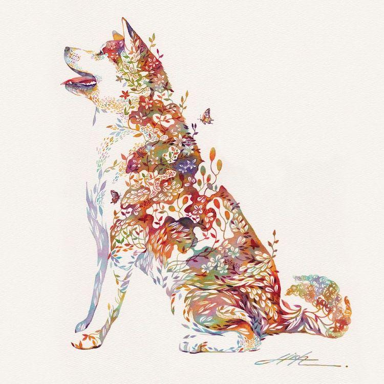 Floral Animal Illustrations by Hiroki Takeda