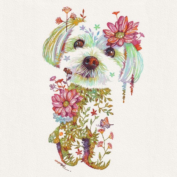 Ilustraciones florales de animales por Hiroki Takeda