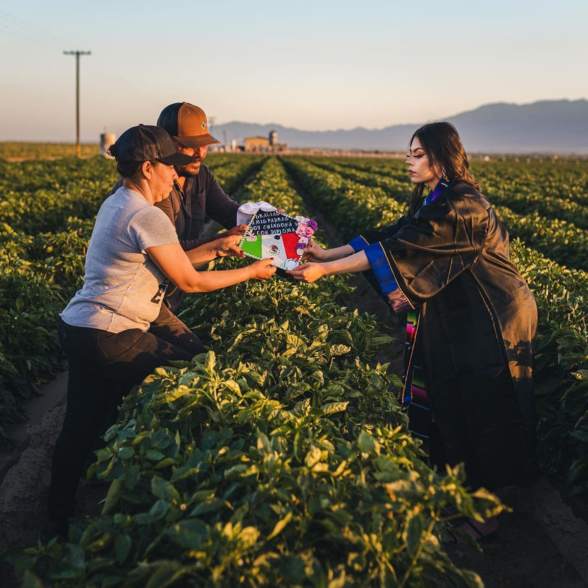 Jennifer Rocha and Her Parents in Produce Fields